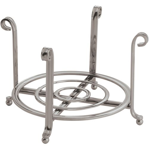 This Satin Nickel Small Plate Holder and Serving Stand looks great on the counter and gives you a handy way to store plates.