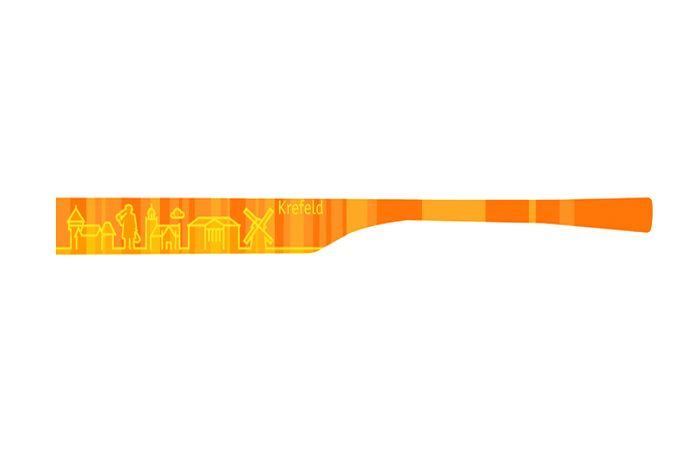 """Brillenbügel Modell: eye:max Wechselbügel 5821 03 Motiv Krefeld orange   Meine Stadt, für das Wechselsystem eye:max von Koberg und Tente. Brillenbügel Paar in der Farbe """"Orange"""", für das clevere Bügeltauschsysteme von eye:max...."""