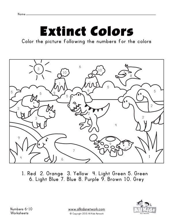 dinosaurs color by numbers 1 10 worksheet all kids network prek class dinosaur coloring. Black Bedroom Furniture Sets. Home Design Ideas