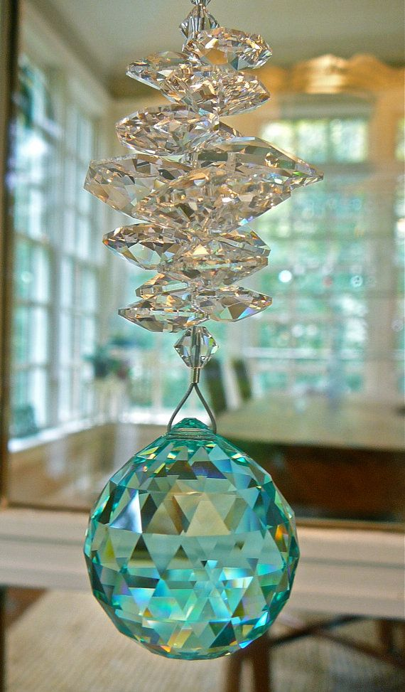 """Catherine Teal - 10"""" Handmade Suncatcher with 30mm Antique Green Swarovski Crystal Ball and Swarovski Crystal Octagons and Beads"""