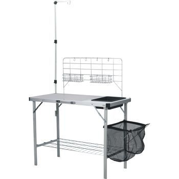 North 49 Easy to Set Up Camp Kitchen Composed of A Large Table Area, Removable Sink, Bottom Wire Shelf, Towel Rack and Carry Handle