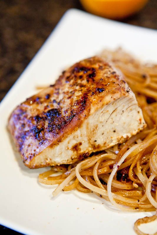 Pan-seared Caribbean Citrus Mahi Mahi with Brown Rice Noodles. One skillet, 15 minutes, and dinner is ready.