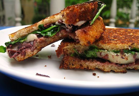 Weekend Sandwich:  Comte, Olive, and Arugula Grilled Cheese REVIEW: This sandwich is so rich that you must use the arugula, but it is wonderful!