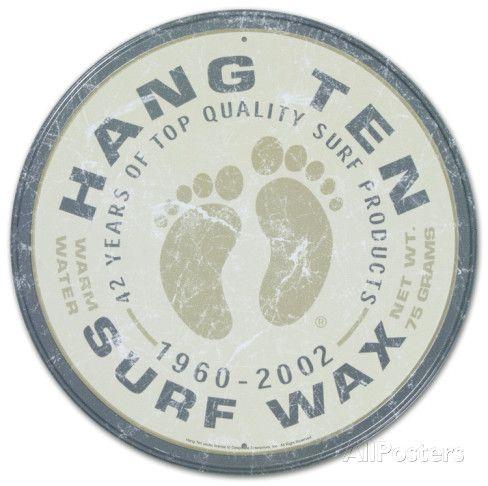 Hang Ten Surf Wax Round Emaille bord bij AllPosters.nl