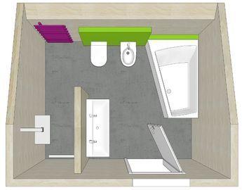 Badezimmer Planung mit T-Lösung und Dachschräge