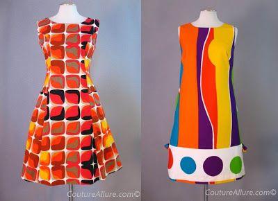 pop art or op art print, two cotton shifts
