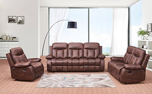 Betsy Furniture 3 Pc Microfiber Fabric Recliner Set Living Room Set In Brown Sofa Loveseat Chair Pil 3 Piece Living Room Set Living Room Sets Living Room Sofa