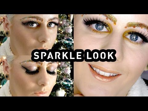 NEW YEARS EVE * Funky sparkle makeup look - tutorial - glitter brows