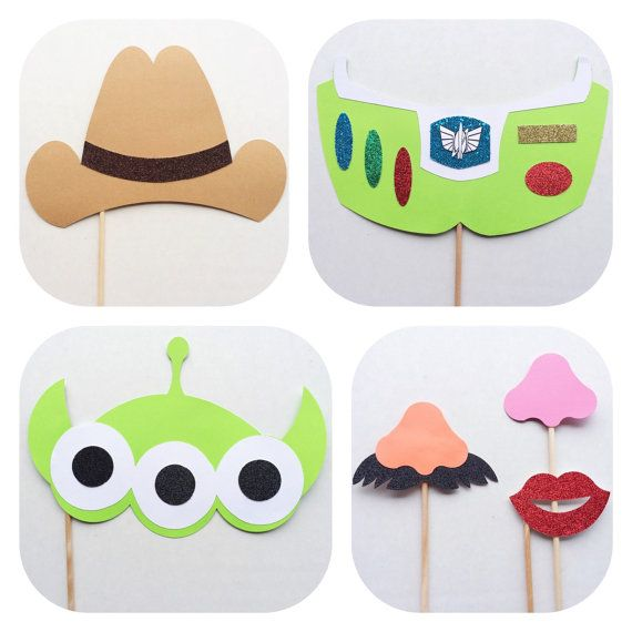 Set of 6 Toy Story Inspired Photo Booth Props; Woody and Friends Photobooth Props -by Lets Get Decorative