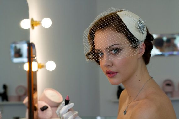 Vintage style Bridal Headdress with detachable by AgnesHart, $235.00