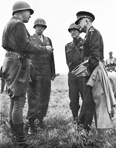 Patton, Bradley, Hodges, and Eisenhower, Germany, March 28, 1945: Photos, Photo Collection, Gen Courtney Hodg, Wwtwo