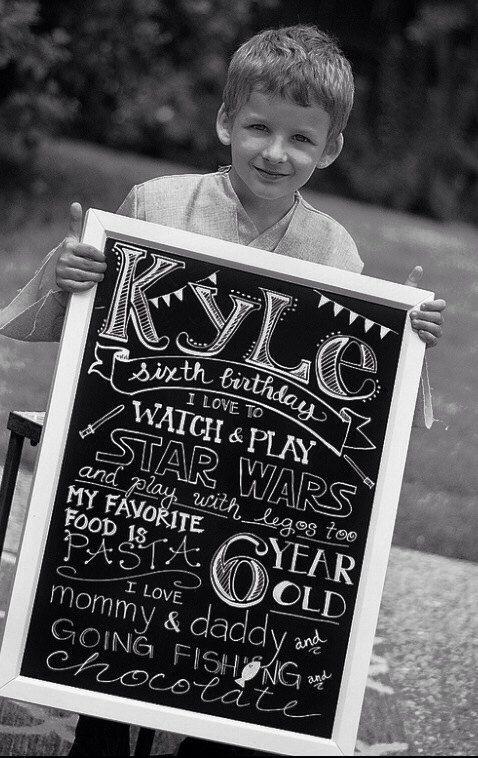 Must......start........doing........this!!!!!!!  Customizable Birthday Chalkboard sign via Etsy
