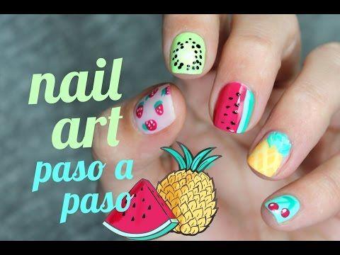 5 diseños FÁCILES de FRUTAS para tus UÑAS | Sandía, piña, kiwi, cereza, fresas - YouTube
