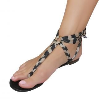 Shutini's Z Stripe Strap features a short, patterned, taupe and black strap which combines a mixture of high quality lycra and cotton. On #sale for $6.95. #shoes