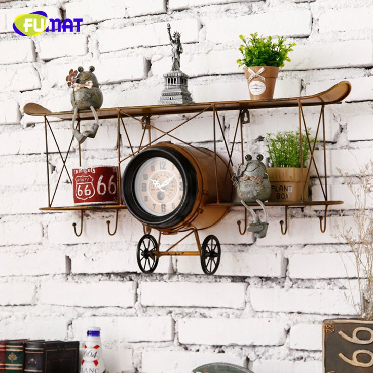Vintage Aircraft Wall Clock with Shelf Loft Bar Living Room Restaurant Decorate Novelty Item Kids Room Wall Rack Clock