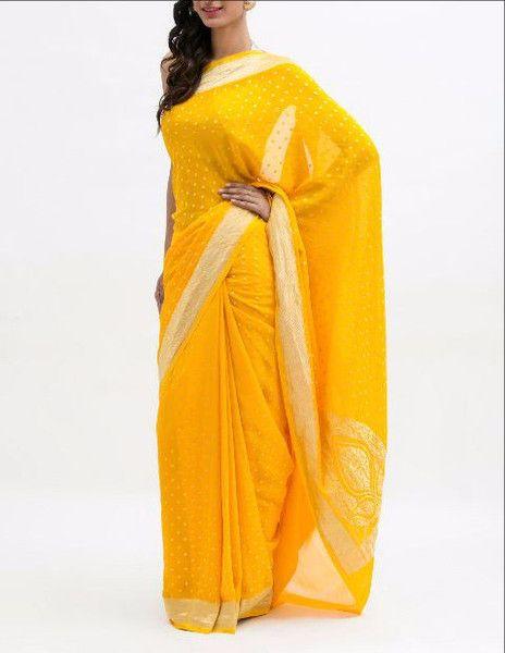 Yellow Zari Work  Banarasi Saree http://bit.ly/23UhcIc