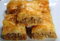 Baklava is a Middle Eastern dessert.  I tried it in Vegas during my vacation.  It was delicious yet dangerous Mmmm.... :D