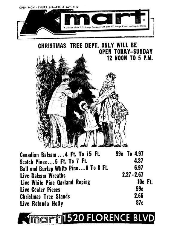 Kmart Christmas Trees December 1967 Kmart Christmas Trees Christmas Ad Retro Advertising