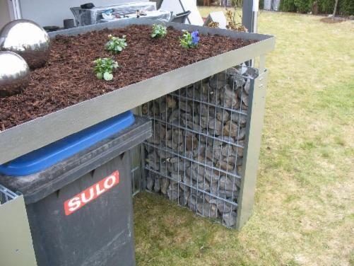 Stein Gitter Wand -  Mülltonnen-Boxen - Produktionsstandort Deutschland