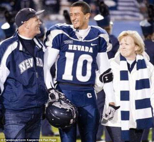 Rick and Teresa Kaepernick (seen here with Colin Kaepernick during his playing days at University of Nevada - Reno) came out in support of their embattled son on Friday