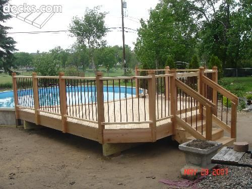 Semi inground pool with deck: Pools Buried, Pools Dreams, Pools Decks, Pools Stuff, Ponds Yard Decor Pools, Pools Ideas, Pool Decks, Pools Pools, Inground Pools