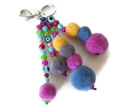 Boho keychain, Pom pom key chain, Pom pom bag charm ...