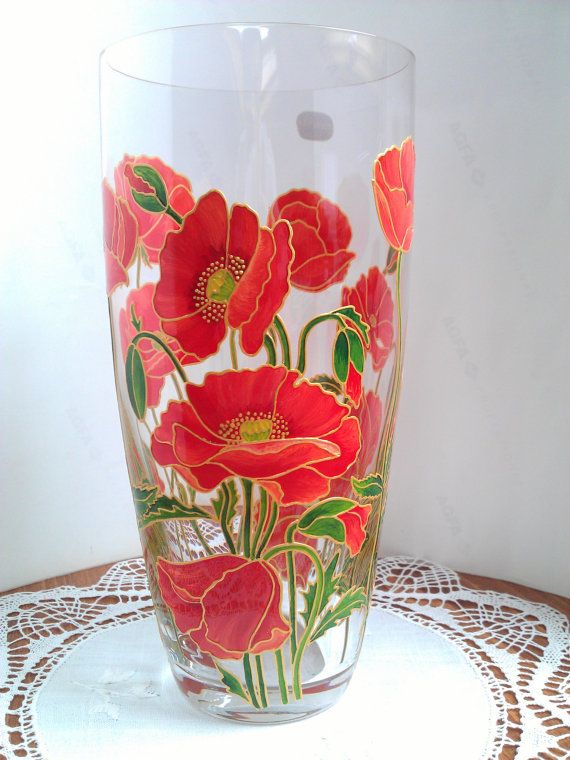 Hand painted glass vase Red poppies glass by PaintedglassbySveti