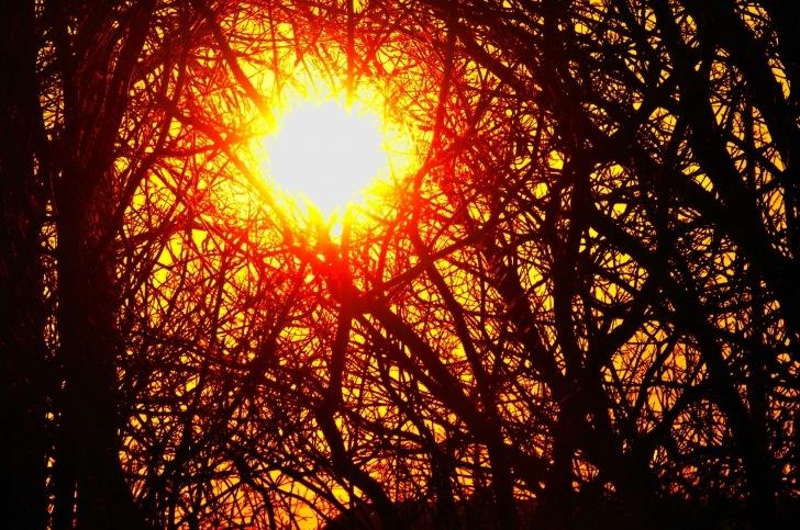 sundown in a winter town