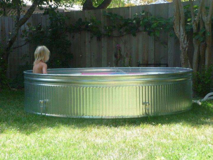 summer: livestock tank pool