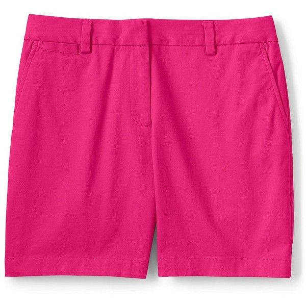 Lands' End Women's Petite Mid Rise 5 Chino Shorts (53 CAD) ❤ liked on Polyvore featuring shorts, red, petite shorts, red shorts, low rise shorts, lands end shorts and lands' end