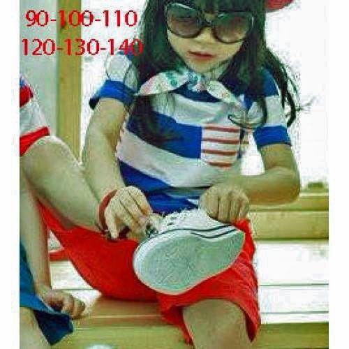 Candy 12635 Stripe Blue set Celana Merah set  SYAL