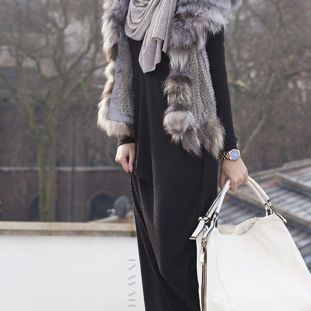 INAYAH | Light Grey Maxi Jersey #Hijab + Black Knitted #Abaya www.inayahcollection.com
