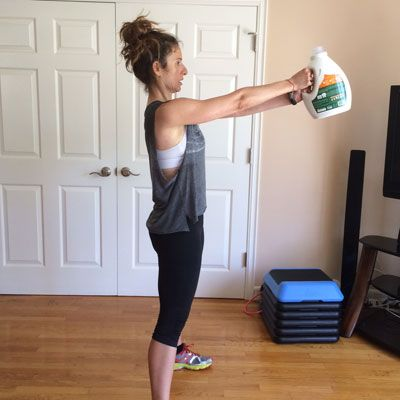 Skip the Kettlebells! Try This 4-Move Workout With a Laundry Detergent Jug. @Health magazine