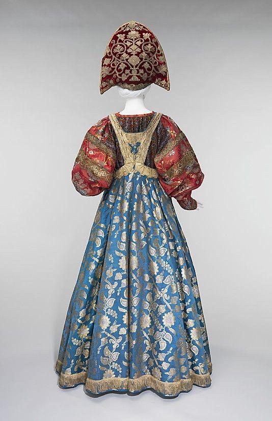 Ensemble Date: 19th century Culture: Russian Medium: silk, metal, cotton Dimensions: Length at CB (a): 56 in. (142.2 cm) Length at CB (b): 1...
