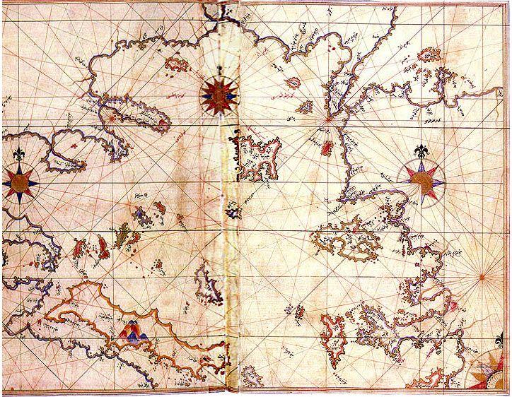 Aegean Sea Map by Piri Reis