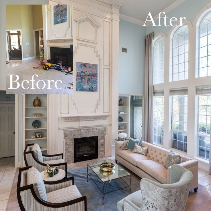 Living Room With Chesterfield Couch, Two Story Windows And Curtains Part 63