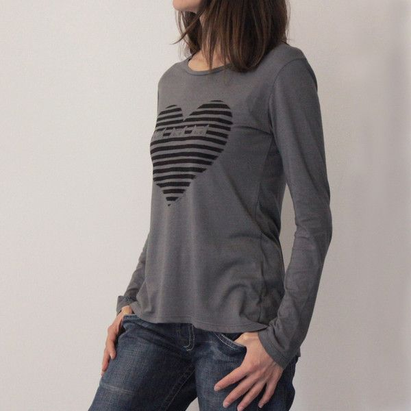 """Magliette a manica lunga - T-SHIRT MANICA LUNGA STAMPA """"MIAO RIGHE"""" - GRIGIO - un prodotto unico di Tyche-abbigliamento su DaWanda"""