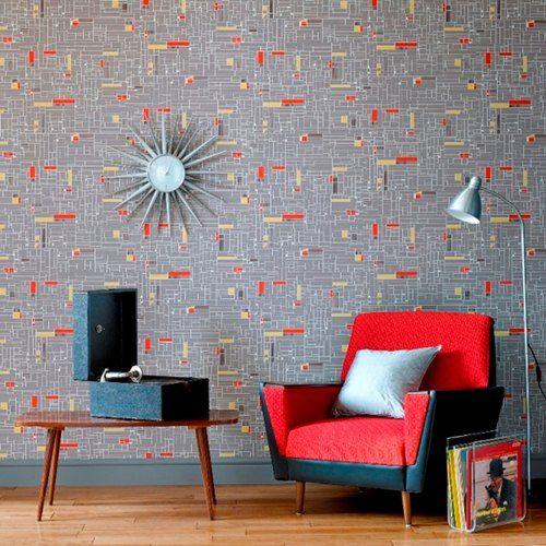 Mid Century wall paper and retro furniture. Hemingway Design for Graham & Brown. Repinned by Secret Design Studio, Melbourne. www.secretdesignstudio.com
