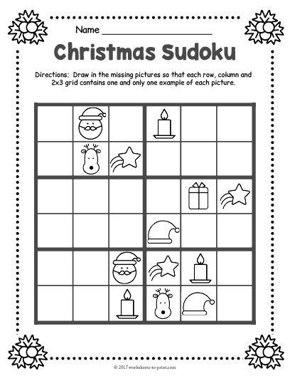Eloquent image throughout christmas sudoku printable