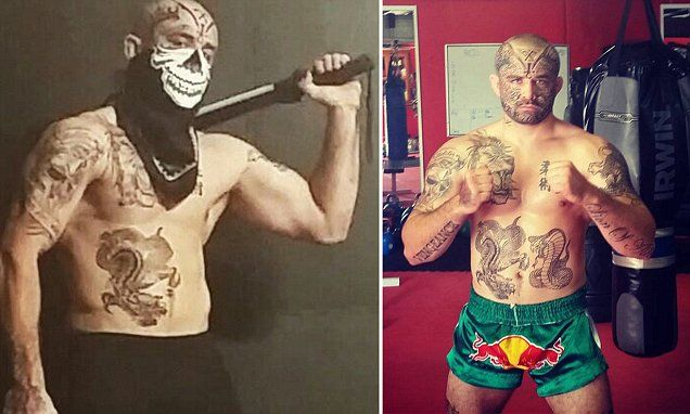 Tatooed cage fighter escapes prison for coward punching security guard