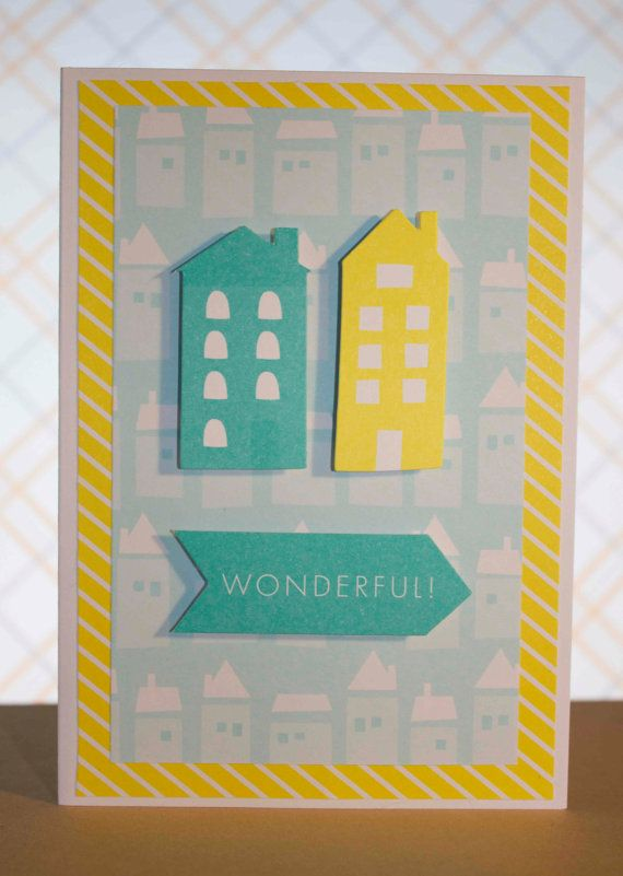 Yellow and Teal and Wonderful Greeting Card by TartanElephantAus, $6.00