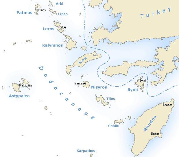 Dodekanese eilanden zuid Egeïsche zee | Dodecanese south Aegean islands | Sail in Greece Rhodes | sail-in-greece.net