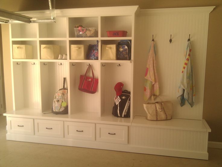 Custom built in mudroom garage locker unit with bead for Garage mudroom