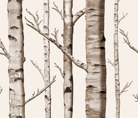 Birch Grove Fabric and Wallpaper by sparrowsong on Spoonflower