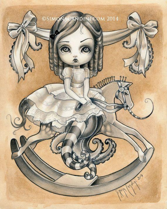 Ludovica à tirage limité signé numéroté Simona Candini lowbrow surréalisme pop grands yeux poulpe fantaisie victorienne fille cheval à bascule