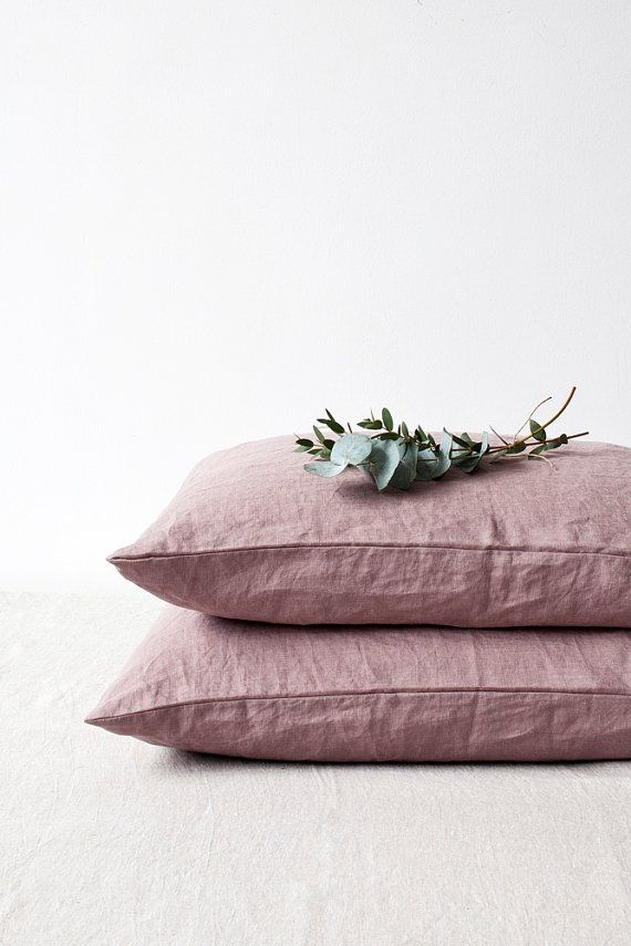 Set of 2 Ashes of Roses Stone Washed Linen Pillow Cases