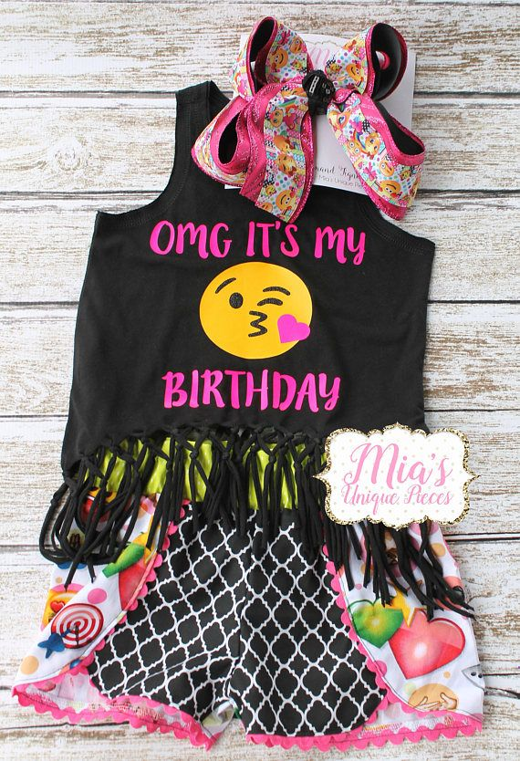 OMG Its My Birthday Emoji Short Set Is Great For Every Little Girls Party