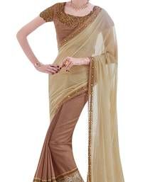 Buy Brown border worked lycra and silk saree with blouse silk-saree online