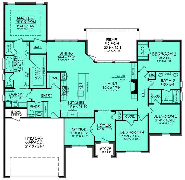 European Style House Plan – 4 Beds 2.50 Baths 2380…