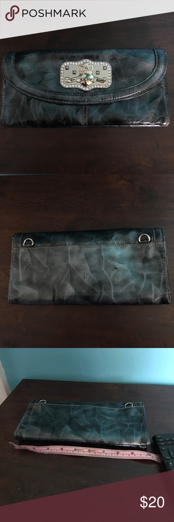 Silver grey clutch Silver grey clutch. Never had the chain Kathy Van Zeeland Bags Clutches & Wristlets